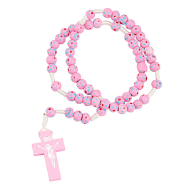 Pink wood rosary
