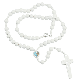 White rosary with heart