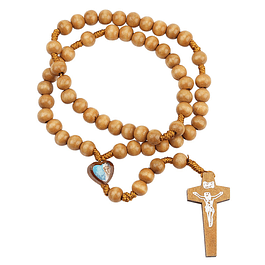 Wooden rosary with heart