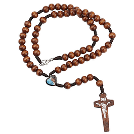 Wood rosary with heart