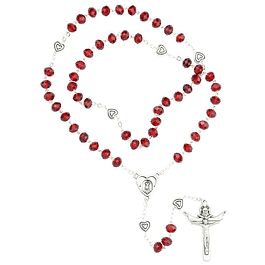 Crystal rosary with hearts