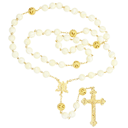 Golden rosary mother pearl