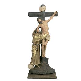 Cristo na cruz com Francisco 37 cm