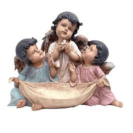 Anjinhos com cesta e pássaro 35 cm