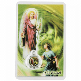 Cartão com oração a São Rafael