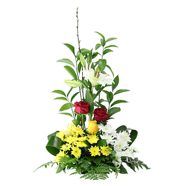 Arranjo floral em espiral