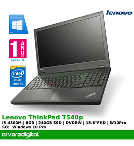 "Lenovo ThinkPad T540p | i5-4300M | 8GB | 240GB-SSD | DVDRW | 15.6"" Full HD 
