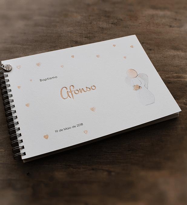 Caderno de mensagens com anjo um coração agradecido