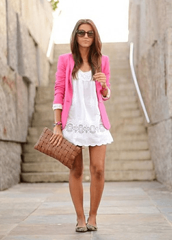 Pink blazer with white Dress
