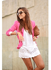 Pink blazer with white Dress