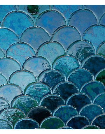 Fish Scale Tile, Glazed Effect