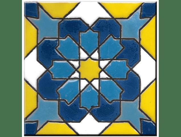 Azulejo artesanal 14x14cm - Hispano Arabe 1 - Cor A