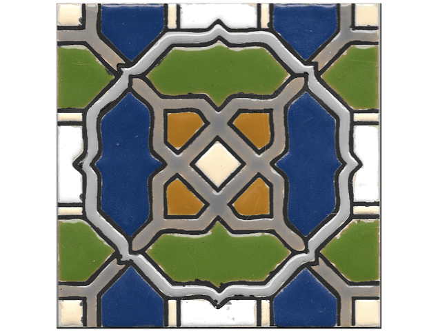 Azulejo artesanal 14x14cm - Hispano Arabe 2 - Cor B