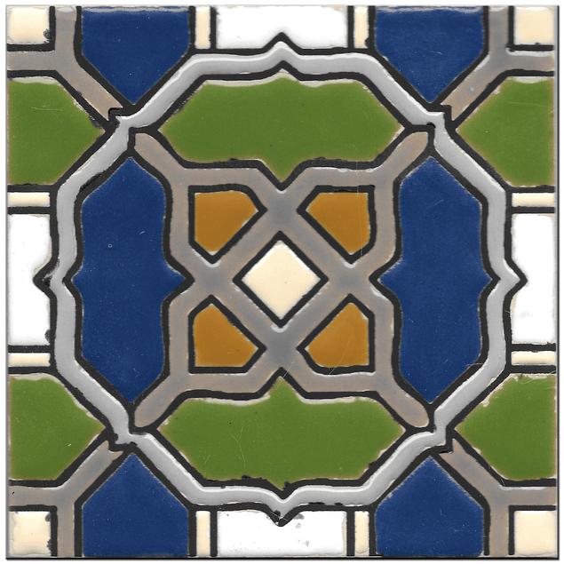 Handmade tile 14x14cm - Hispanic Arabic 2 - Color B