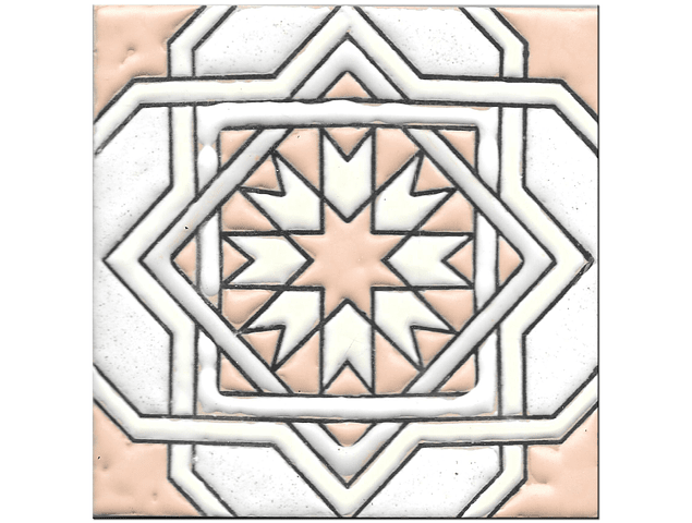 Handmade tile 14x14cm - Hispanic Arabic 3 - Color A