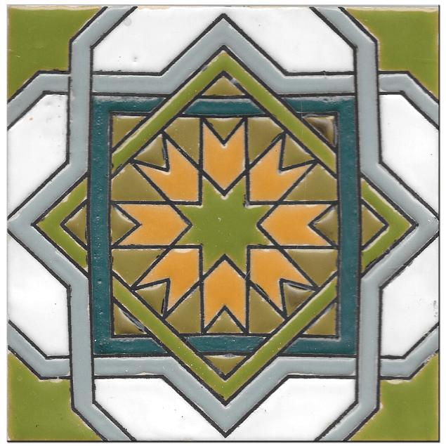 Handmade tile 14x14cm - Hispanic Arabic 3 - Color B