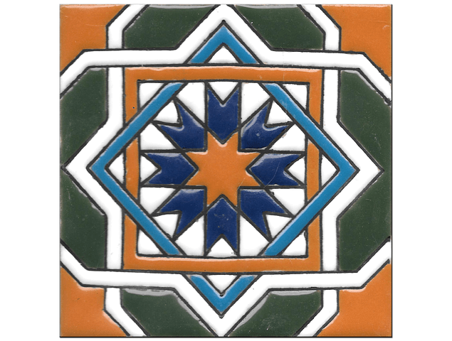 Handmade tile 14x14cm - Hispanic Arabic 3 - Color C