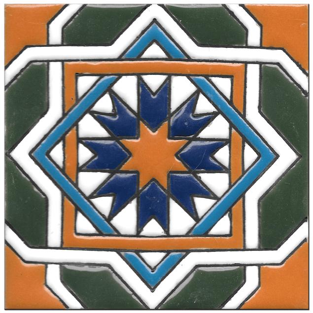 Handmade tile 14x14cm - Hispanic Arabic 3 - Color C