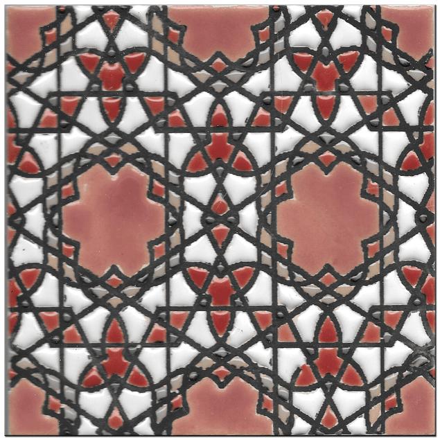 Handmade tile 14x14cm - Hispanic Arabic 5- Color A