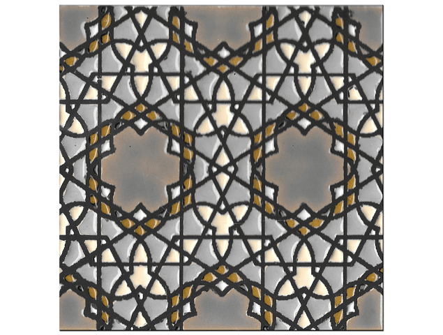 Handmade tile 14x14cm - Hispanic Arabic 5- Color B