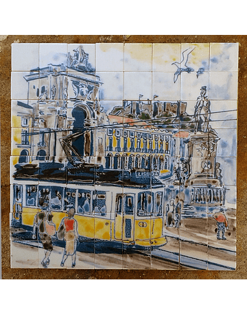 "Small Panel ""Lisbon with Electric"" 19x19cm"