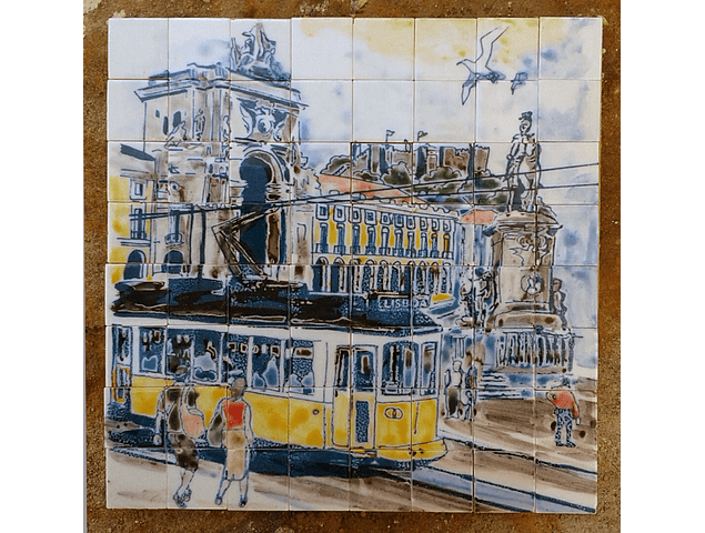 """Small Panel """"Lisbon with Electric"""" 19x19cm"""