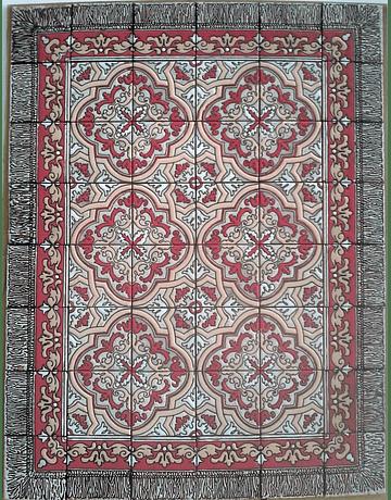 Tapete em Azulejos para chão - Sobradinho em Vermelho