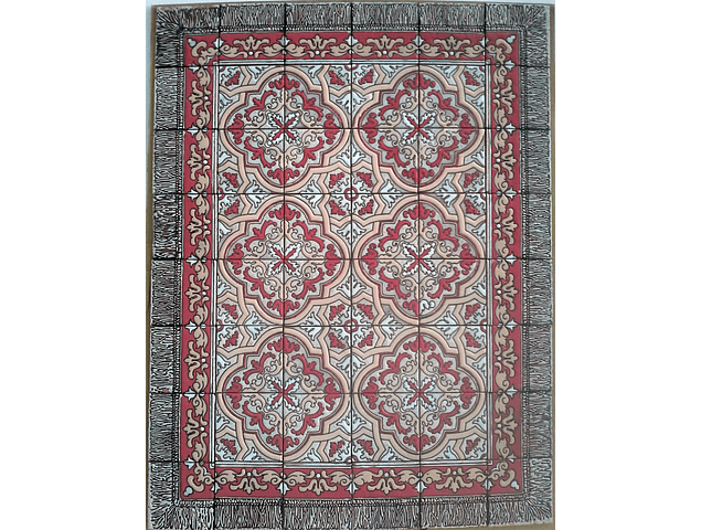 Floor Tile Rug - Sobradinho in Red