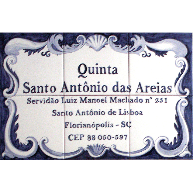 Blue and white tile Panel with text
