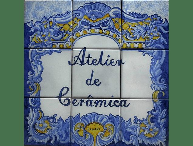 Painel de Azulejos com Texto Borda Classica