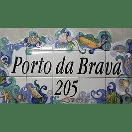 Painel de Azulejos com Texto, Borda Mar, recortada 1 lado