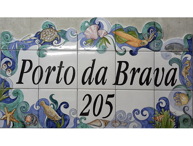 Tile Panel with text, edge Sea, cut 1 side