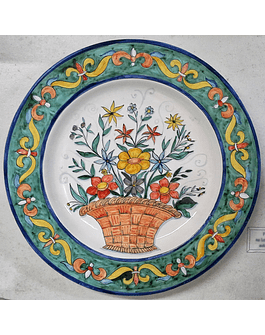 Wall Plate Basket Flowers with Green Edge