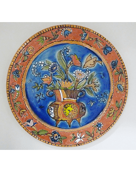 Wall Plate Flowers Basket Blue Background