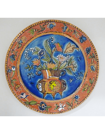 Assiette Murale Panier Fleurs Fond Bleu