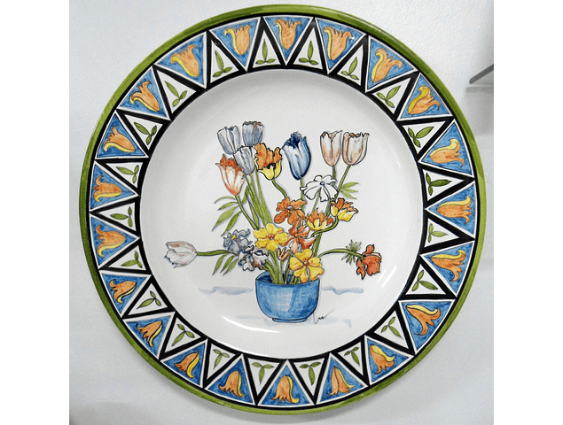 Wall Plate New Basket Flowers