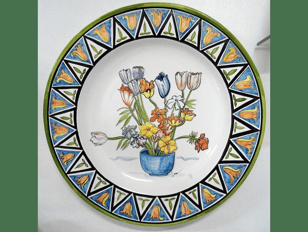 Nouvelle assiette murale panier de fleurs
