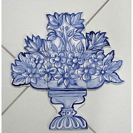 Painel de azulejos recortados Cesta Flores Pequena