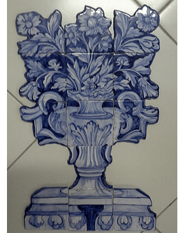 Azulejo Panel de flores cesta grande