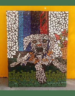 """Kit - DIY - Faça você mesmo - Mosaico """"Cão"""" 34x26cm"""