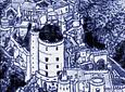 PUZZLE IN CERAMIC - PALÁCIO DA PENA LITTLE - blue and white