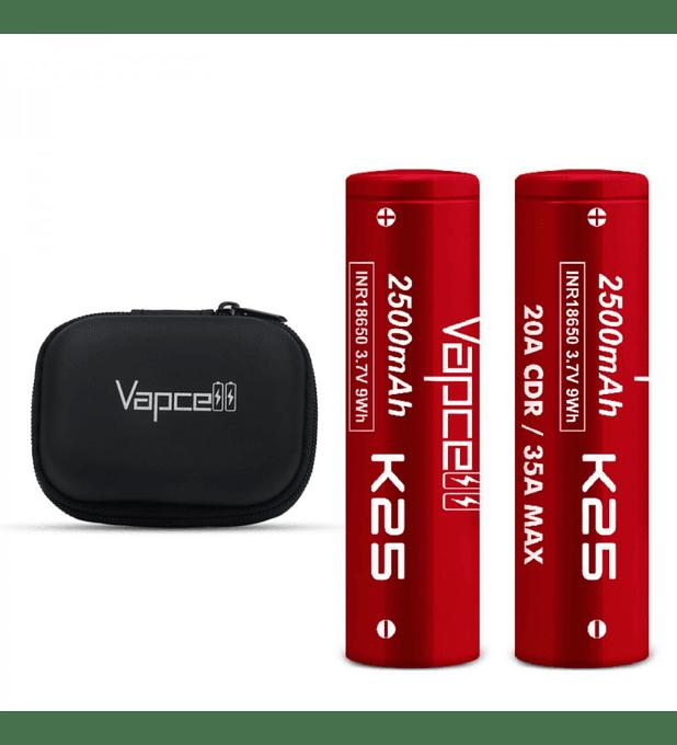 Pack 2 Uni. X Vapcell  18650 K25 Red