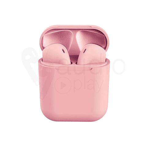 Audífonos Bluetooth i12 Rosado con Estuche de Carga