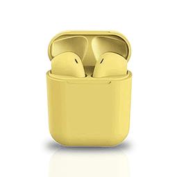 Audífonos Bluetooth i12 Amarillo con Estuche de Carga
