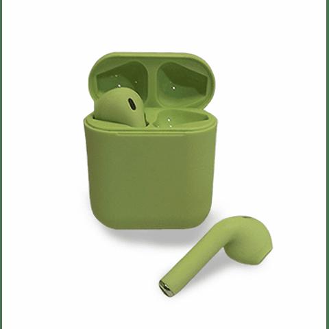 Audífonos Bluetooth i12 Verde con Estuche de Carga