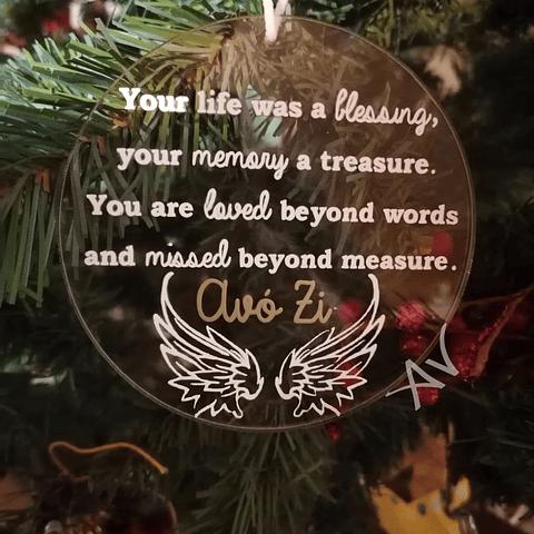 Disco / Bola de Natal Transparente com mensagem de saudade