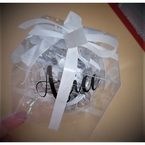 Bola de Natal Transparente decorada e com silhueta