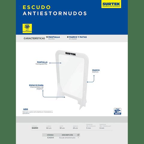EAE60 Surtek Escudo anti estornudos de acrílico de 3 mm con marco de coroplast 60 x 90 cm