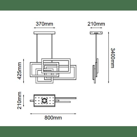 Q21675-GD Sommer Pendant L800*W210*H425 LED 32W