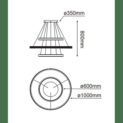 Q48173-GD Olympia Decorativa Colgante D1000*H800 LED 105W 3000K